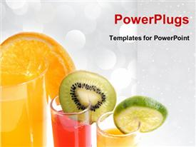 PowerPoint template displaying sliced fruits hanging on glasses of juice on white background