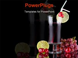 PowerPoint template displaying red colored juice in glass cup surrounded by lime and red grapes