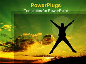 Silhouette of a man jumping up powerpoint design layout