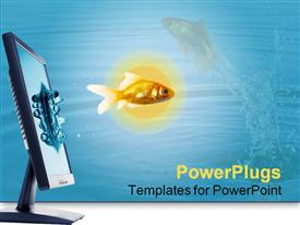 PowerPoint template displaying fish jumping from The Flat panel lcd computer monitor in the background.