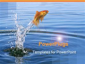 Fish jumping out of the water powerpoint design layout