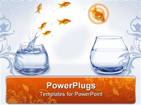 Jump gold fish from aquarium to aquarium template for powerpoint