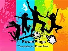 PowerPoint template displaying silhouettes of jumping figures with soccer ball against multicolored background