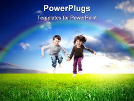 PowerPoint template displaying two children jumping on a green meadow in the background.