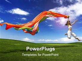 PowerPoint template displaying lady in white leaping for joy holding colorful scarfs