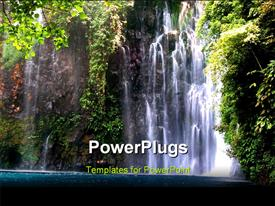 PowerPoint template displaying waterfall in the jungle of the Philippines in the background.