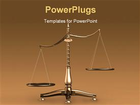 PowerPoint template displaying big brass empty scales unbalanced conceptual on brown background