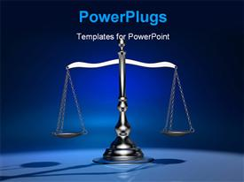 PowerPoint template displaying conceptual a silver brass scale