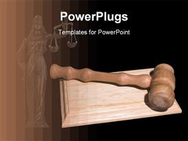 PowerPoint template displaying brown wooden judge gavel on wooden surface in black background