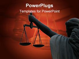 PowerPoint template displaying a balance showing the law and justice on maroon background