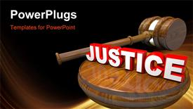 PowerPoint template displaying 3D wooden judge's gavel and 3D white and red justice word atop on gavel