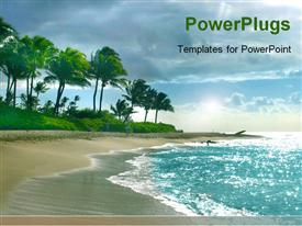 PowerPoint template displaying lots of trees at the shore of a blue river beach