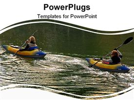 PowerPoint template displaying two ladies kayaking in a lake