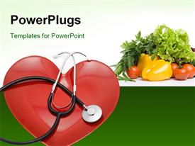 PowerPoint template displaying a heart with a stethoscope and a number of vegetables in the background