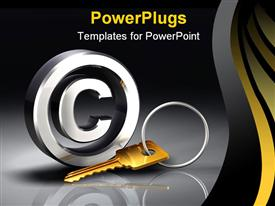 Brass metallic key and key ring powerpoint theme