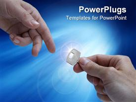 PowerPoint template displaying two adult hands exchanging a key on a blue background