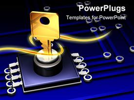 PowerPoint template displaying a key with a number of lines in the background