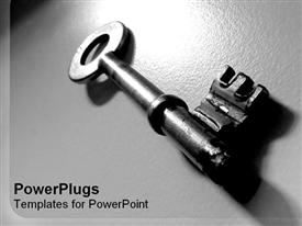 PowerPoint template displaying gray metallic key close up on gray shiny background