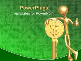 PowerPoint template displaying gold plated man leaning against golden key with dollar sign