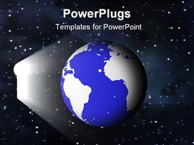 PowerPoint template displaying blue and white earth with keyhole of white in the background.
