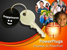 PowerPoint template displaying key to happiness metaphor with Christian cross, families, children, students and professionals