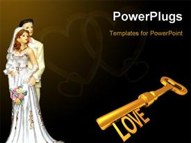 PowerPoint template displaying gold plated love skeleton key with bride and groom on black background