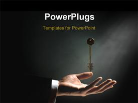 PowerPoint template displaying gold key dropping in man's hand over black background