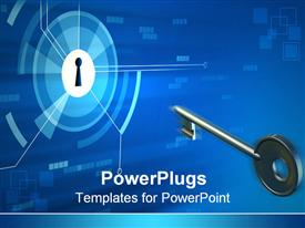 PowerPoint template displaying a beautiful depiction of a key and a keyhole