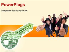 PowerPoint template displaying a number of professionals with a key to success
