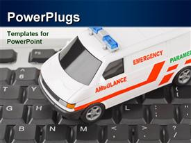 PowerPoint template displaying white colored emergency ambulance on computer keyboard