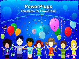 PowerPoint template displaying birthday celebrations among kids without discrimination
