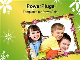 PowerPoint template displaying collage of three little kids with flowered frame on green background
