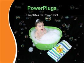 PowerPoint template displaying a kid taking a bath with bubbles in background