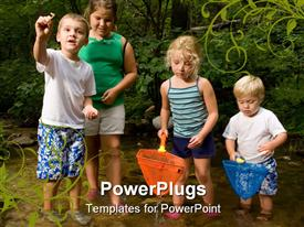 Kids and family playing in and around a stream in the woods powerpoint template