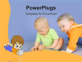 PowerPoint template displaying two cute babies crawling and playing on the floor