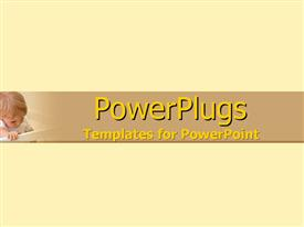 PowerPoint template displaying a plain cream colored background with a small kid