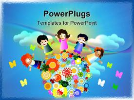 PowerPoint template displaying abstract cloudy sky with little kids and butterflies