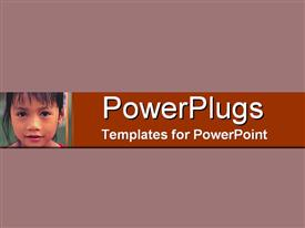 PowerPoint template displaying a plain purple colored background with a small kid