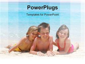 PowerPoint template displaying three kids lying beach smiling happily playing