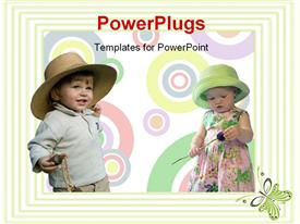 PowerPoint template displaying abstract background of circles and green frame with two kids having fun