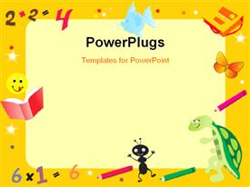 PowerPoint template displaying yellow abstract frame for kid with books and color pens
