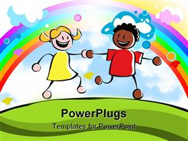 PowerPoint template displaying two kids (boy and girl of different ethnicities) holding hands and running together on a grassy hill in the background.