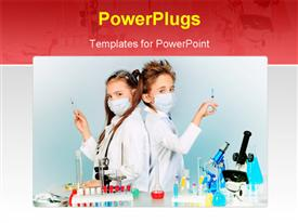 PowerPoint template displaying two children making science experiments. Education