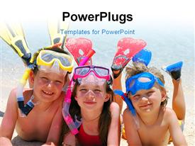 PowerPoint template displaying three little kids dressed in snorkeling kit lay in beach sand