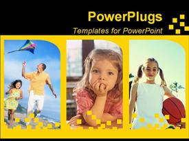 PowerPoint template displaying three tiles of little girls and one with an adult