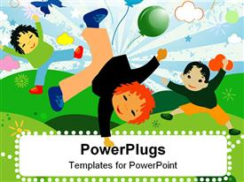 PowerPoint template displaying artwork of three cute children dancing and playing
