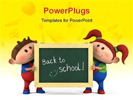 PowerPoint template displaying cute cartoon boy and girl with holding chalkboard with 'back to school' written and school items overlayed on yellow color in the background