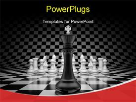 King of leader at the head of chess on chessboard powerpoint template
