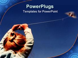 PowerPoint template displaying three year old child holding tightly to the strings in the background.