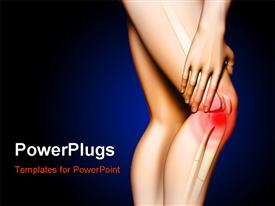PowerPoint template displaying pain originating in the knee area. Hand touching the upper leg just above the knee